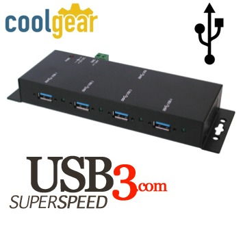 USB 3.0 4-Port Industrial Hub Metal Case with Screw Lock Cable Option Only $57.99  at USBGear.com