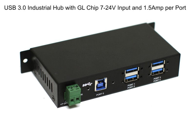 Din-Rail GL Chip 1.5Amp Output USB 3.0 4-Port Industrial Hub Metal Case with Screw Lock Cable Option - Image C