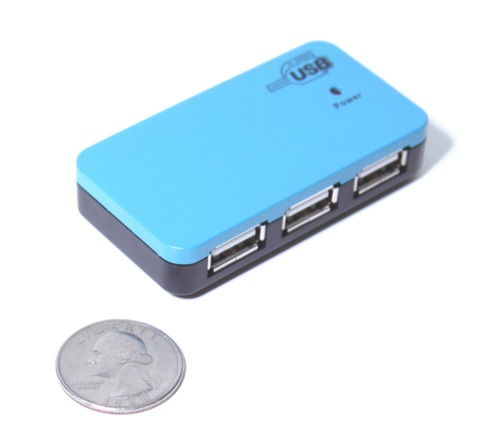 Micro 4-Port USB Hub 2.0 MULTI TT GL-852 Chip High-Speed with 2A Power Adapter - Image C