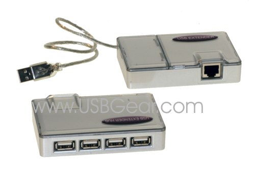 4-Port USB 1.1 Line Extender Kit up to 100ft. via Category 5 Network Cable - Image A