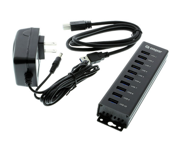 USBGear 10-Port USB 3.0 Mountable Charging and SuperSpeed Data Hub - Image B