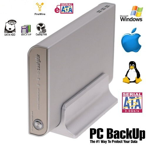 3.5 SATA HDD Enclosure with Fan and Built-In AC Adapter ,Quad Interface. Only $97.88  at USBGear.com