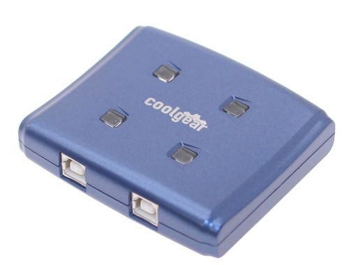 Blue USB switch with USB 2.0 high speed allows 4 computers to 1 device - Image A