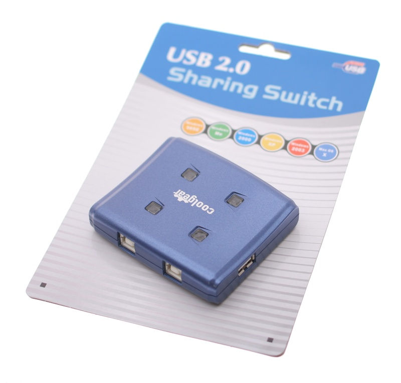 Blue USB switch with USB 2.0 high speed allows 4 computers to 1 device - Image B