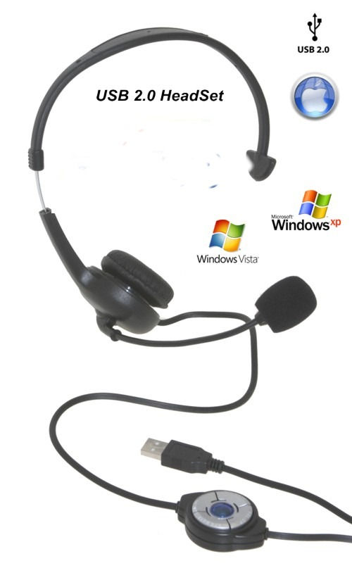 USBGear USB Digital Headset with Microphone for XP/Vista and Mac - Image A