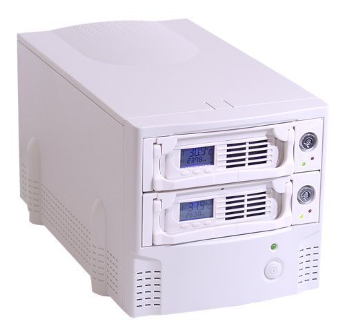 USB 2.0 & FireWire ComBo to DUAL IDE 3.5 Hard Drive LCD Removable System - Image A