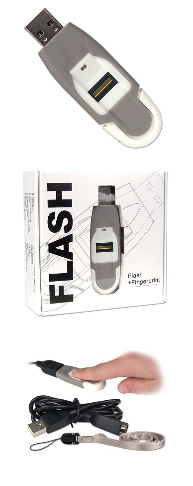 USB 2.0 1GB BIOMETRIC Fingerprint-Protected USB Flash Memory - Image A