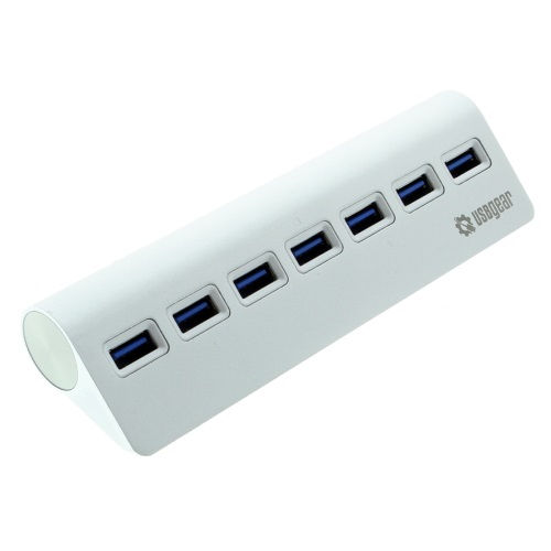 7-Port USB 3.0 Charging and Data Hub Sleek Silver for Desktops - Image A