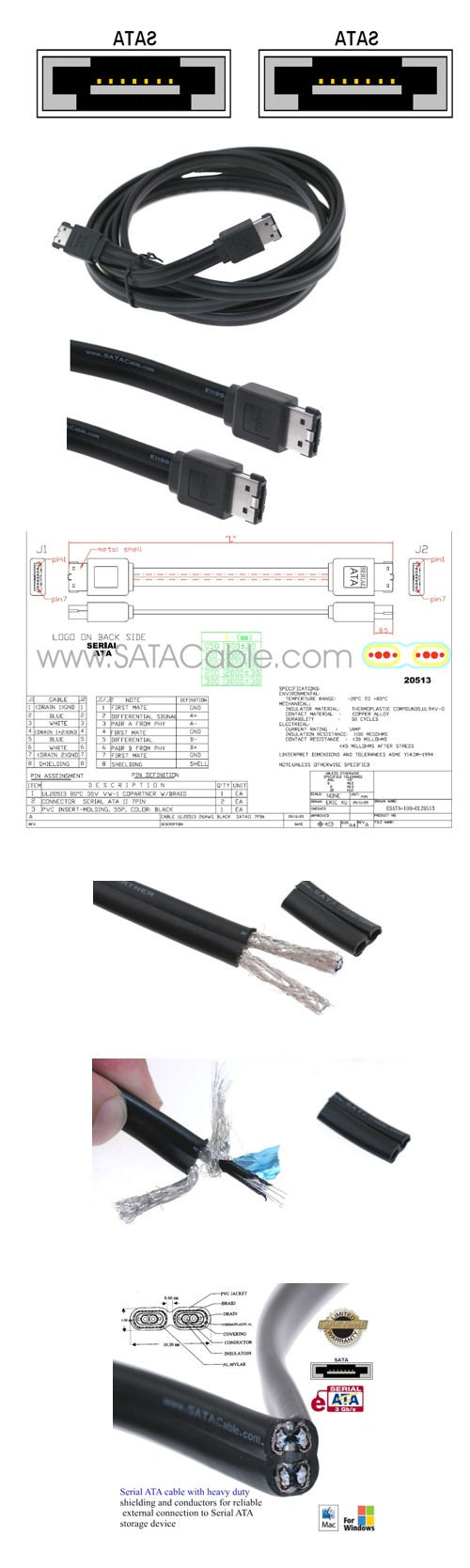 One Meter (3ft.) eSATA - eSATA External Triple Shielded SATA Cable - Image C