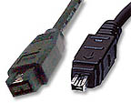 9-pin to 4-pin FireWire 800 - FireWire 400 cable 6ft - Image A