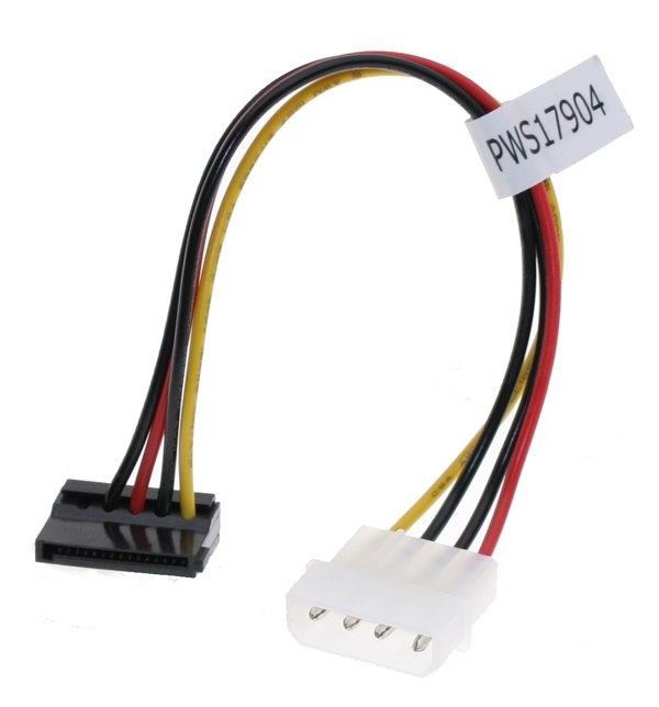 SATA Power Cable Adapter Molex to SATA 15-pin Power Right Angle - Image A