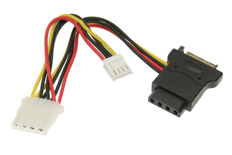 SATA power to 4 Pin Molex and 4 Pin Floppy Power Cable Y Adapter 5 inch Cables - Image A