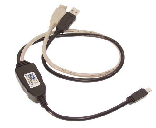 USB Power cable 870MA into one MINI B port from two A ports - Image A