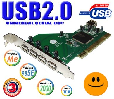 USB 2.0 5 Port PCI Card for Windows 98SE/ME/2000/XP! - Image A