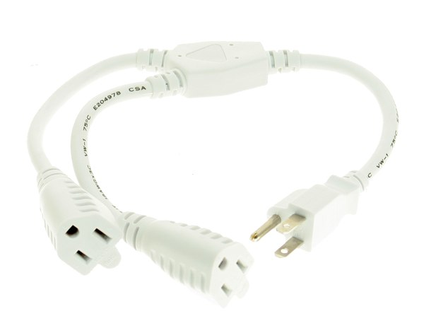 White 16-inch UL Listed Power Y-Cable Computer Power Cable - Image A