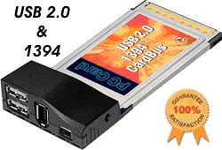 ALI CHIP USB 2.0 + Firewire 1394 PCMCIA CARDBUS Notebook/Laptop Adapter - Image A