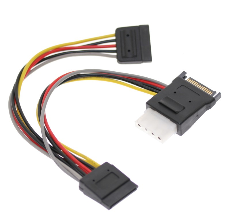 SATA Power Splitter Cable with Molex 4-Pin Outptu and Dual 15-pin Sata Output 7 inch cables - Image A