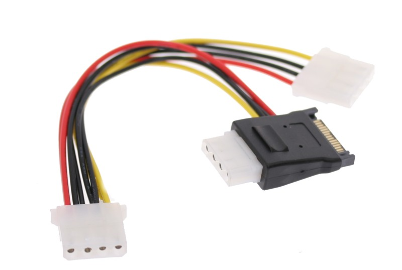 SATA Y Power Adapter Cable Splitter with 3-Molex Power outputs from One SATA Power Input - Image A