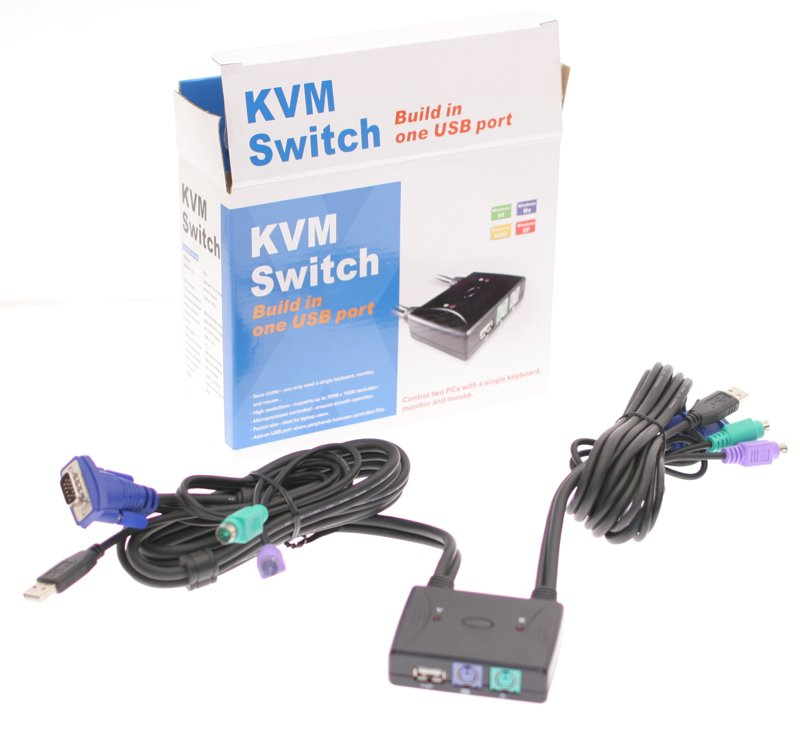 2 Port USB + PS2 KVM Switch with 5Ft. Cables - Image A