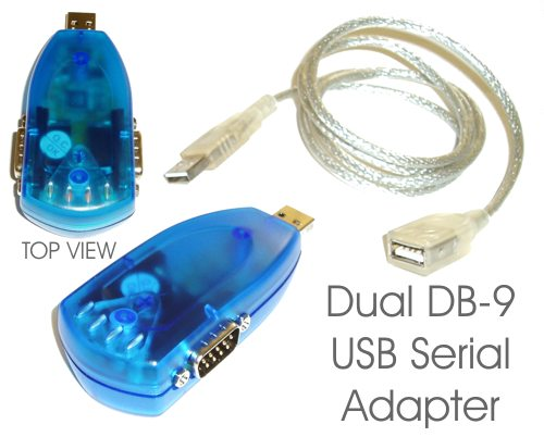FTDI Dual Serial Port DB-9 RS-232 MINI-Adapter With Cable - Image A