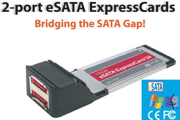eSATA ExpressCards 2-port eSATA ExpressCard for MAC and PC - Image A