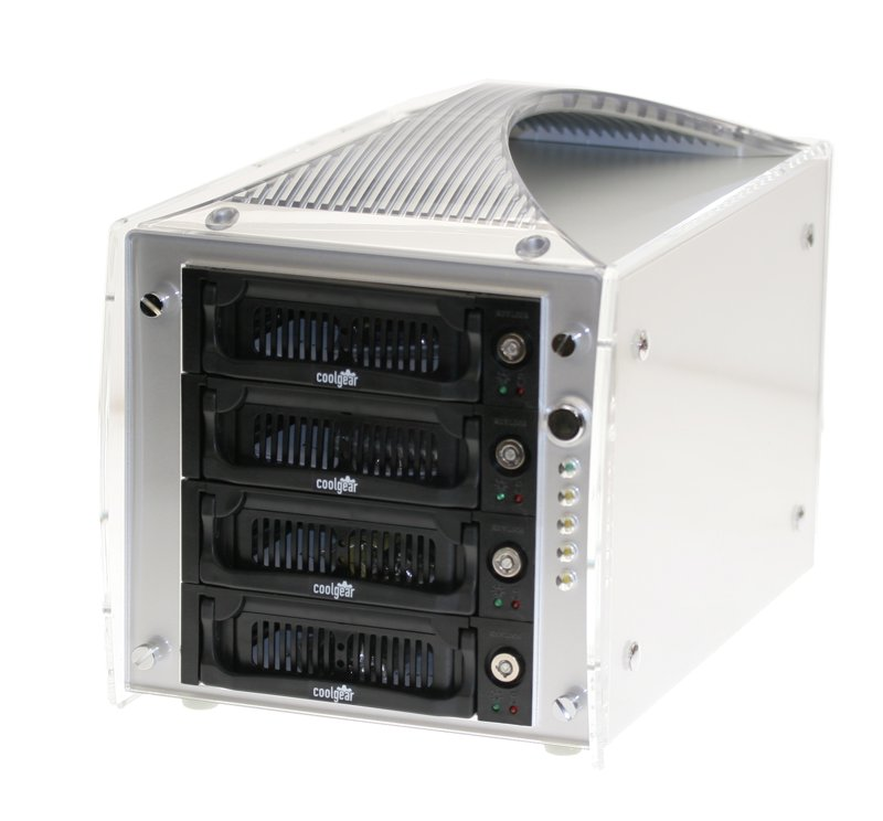 Four Drive SATA II and USB 2.0 COMBO Removable Rack Enclosure
