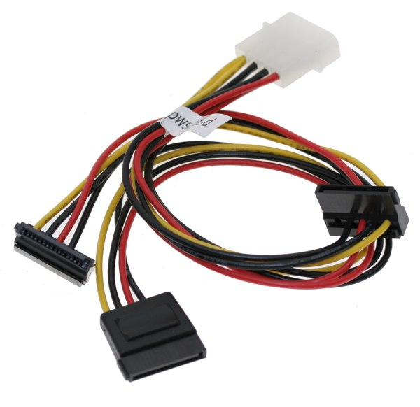 SATA Y Power Cable, THREE SATA Power 15-pin Cable Adapter from One MOLEX 4-pin Power Input Plug  - Image A