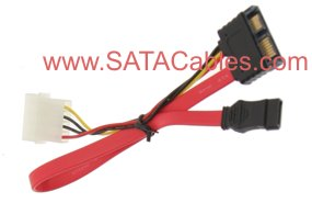 "9"" SLIMLINE ""MINI"" SATA CABLE (CABLE SIDE Male Connector)  - Image A"