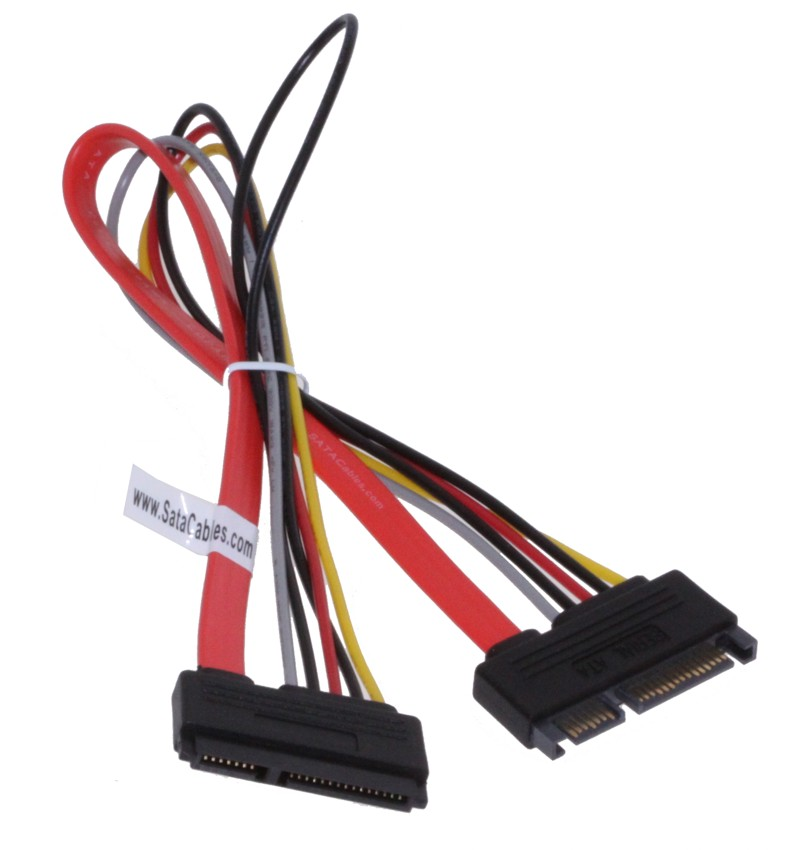 12 inch 22 pin male to female power and data sata adapter cable. - Image A