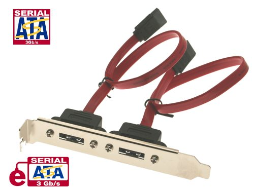 10 inch eSATA Dual Port Internal to External Adapter PCI Bracket - Image A