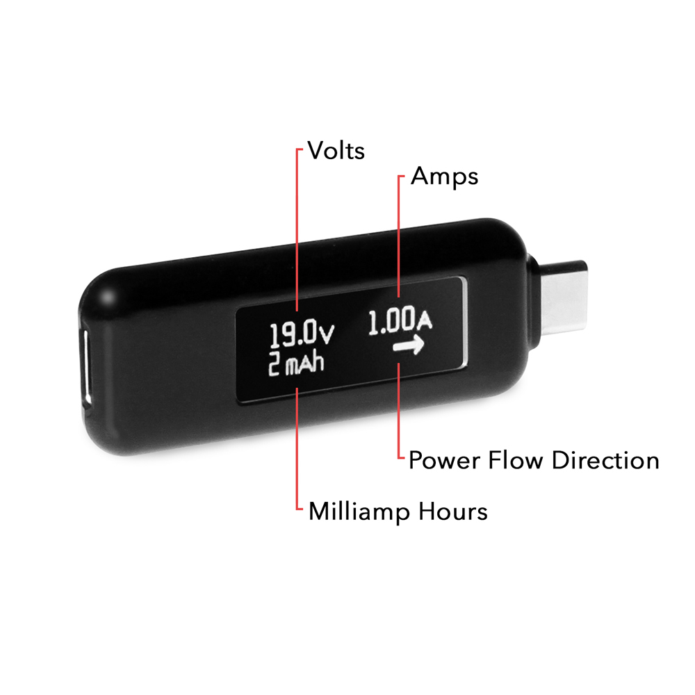 Gearmo USB Type C Power Delivery Tester with OLED Display (Black) - Image B