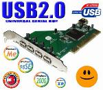 USB 2.0 5 Port PCI Card for Windows 98SE/ME/2000/XP!