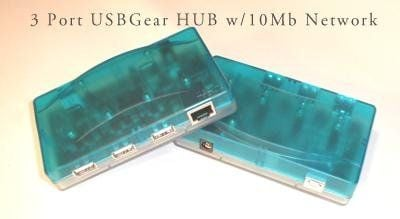 3 port hub with integrated 10BASE-T ethernet port