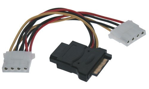 SATA 15-Pin Power to 4-Pin Molex Power Y-Cable (2x 4 Pin and 1X 15 pin ) Only $8.99  at USBGear.com