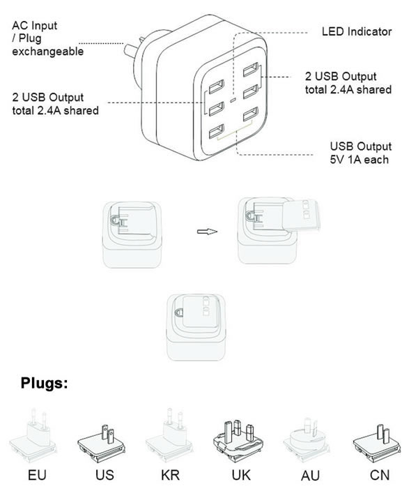 6 ports usb charger up to 2 4a travel fast charger