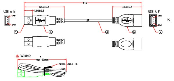 XBOX Extension Cable Drawing
