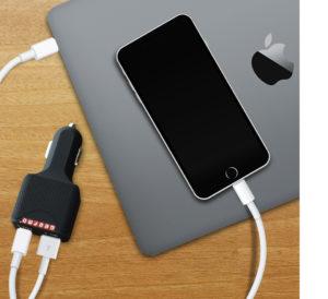 USB C car charger charging laptop